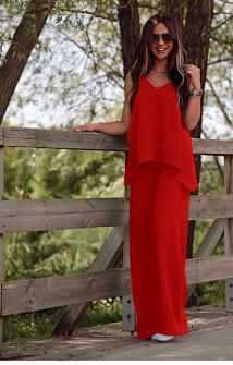 Γυναικείο χαλαρό σετ τοπάκι και παντελόνι 5154 κόκκινο