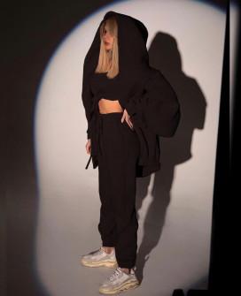 Γυναικείο σετ 3τμχ. κορμάκι, φόρμα και φούτερ 22298 μαύρο