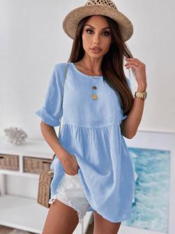 Γυναικείο μονόχρωμο μπλουζοφόρεμα 27931 γαλάζιο