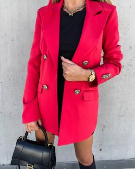 Γυναικείο μακρύ σακάκι με φόδρα 6075 κόκκινο