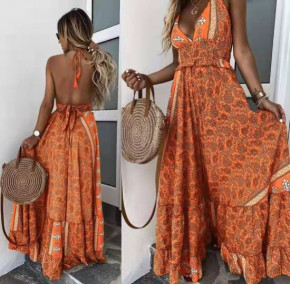 Γυναικείο μακρύ φόρεμα με σχέδια 500308