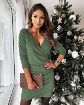 Γυναικείο φόρεμα κρουαζέ 80444 λαδί