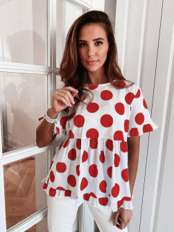 Γυναικεία μπλούζα πουά 21193 κόκκινη