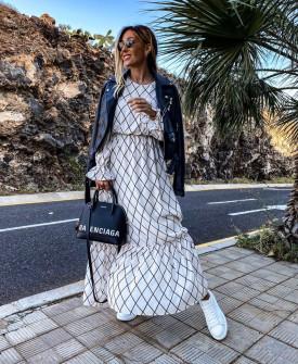 Γυναικείο μακρύ φόρεμα 5079 άσπρο