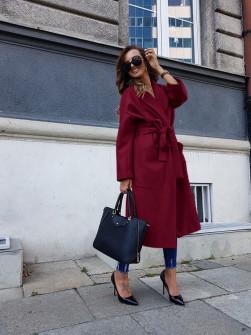 Γυναικείο παλτό με φόδρα 5325 μπορντό