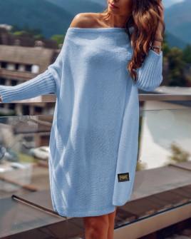 Γυναικείο πλεκτό μπλουζοφόρεμα  00633 γαλάζιο