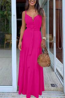 Γυναικείο μακρύ φόρεμα με κουμπιά και ζώνη 5215 φούξια
