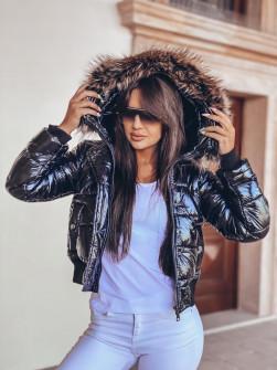 Γυναικείο μπουφάν με γούνα στην κουκούλα 00003 μαύρο