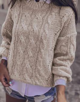 Γυναικείο εντυπωσιακό πουλόβερ 8053 μπεζ