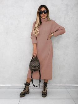 Πλεκτό μακρύ φόρεμα 00809 πούδρα