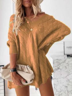 Γυναικείο πλεκτό μπλουζοφόρεμα 88017 καμηλό