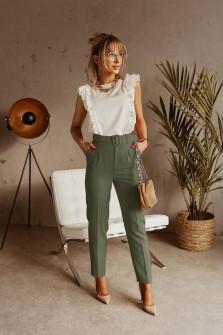 Γυναικείο παντελόνι με ζώνη 5557 χακί