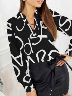 Γυναικεία μπλούζα με print 3974 μαύρη