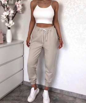 Γυναικείο αθλητικό παντελόνι με κορδόνια 4030 μπεζ