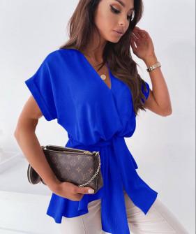 Γυναικεία μπλούζα με ζώνη 5605 μπλε