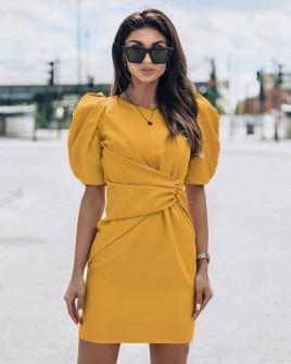 Γυναικείο φόρεμα με φουσκωτό μανίκι 21925 κίτρινο