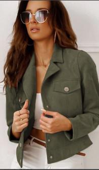Γυναικείο μπουφάν βελουτέ 20800 σκούρο πράσινο