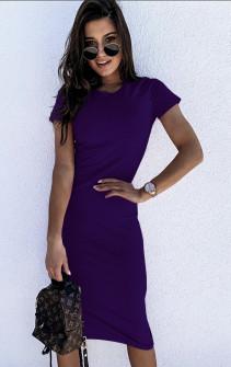 Γυναικείο εφαρμοστό φόρεμα μίντι 5159 μωβ