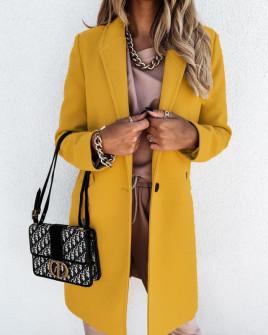 Γυναικείο κομψό παλτό με φόδρα 5332 κίτρινο