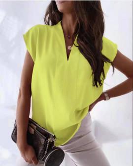 Γυναικείο αμάνικο μπλουζάκι με βαθύ ντεκολτέ 21712 κίτρινο