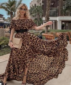 Γυναικείο μακρύ φόρεμα με λεοπάρ print 5126