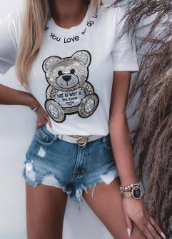 Γυναικείο κοντομάνικο αρκουδάκι 4625 άσπρο