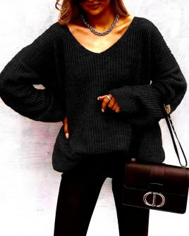 Γυναικείο φαρδύ πουλόβερ 88080 μαύρο