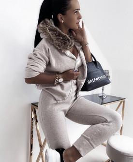 Γυναικείο σετ φόρμα και φούτερ με γούνα 4144  μπεζ