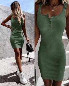 Γυναικείο εφαρμοστό φόρεμα 5715 χακί