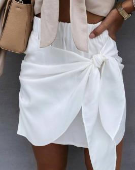 Γυναικεία εντυπωσιακή κοντή φούστα 55598 άσπρη