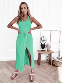 Γυναικείο φόρεμα με σκίσιμο 8215 μέντα