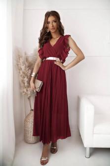 Γυναικείο μακρύ φόρεμα σολέιγ 20116 μπορντό
