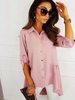 Γυναικείο ασύμμετρο πουκάμισο 5220 ροζ