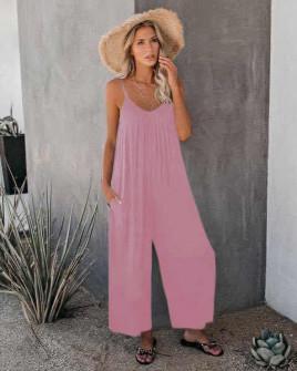 Γυναικεία χαλαρή ολόσωμη φόρμα 5165 ροζ