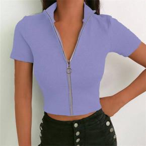 Γυναικεία μπλούζα με φερμουάρ 36675 μωβ