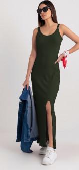 Γυναικείο μακρύ φόρεμα με σκίσιμο 2392 σκούρο πράσινο
