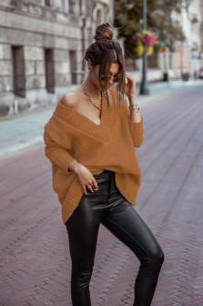 Γυναικείο χαλαρό πουλόβερ 9530 καμηλό