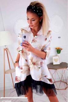 Γυναικείο φόρεμα με print και δαντέλα 502401 άσπρο