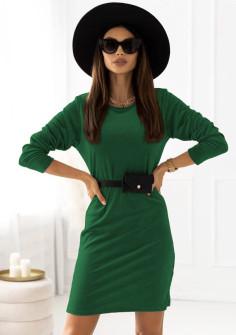Γυναικείο εντυπωσιακό φόρεμα με ζώνη τύπου τσάντα 21408  πράσινο