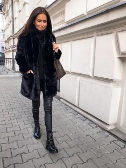 Γυναικείο χνουδωτό παλτό 21131 μαύρο