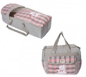 Σετ πορτ μπεμπέ και τσάντα 00454 γκρι/ροζ