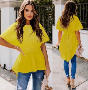 Γυναικείο μπλουζοφόρεμα με κορδόνι 5063 κίτρινο