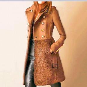 Εντυπωσιακό παλτό με φόδρα 5416 καμηλό