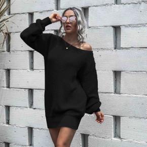 Γυναικείο χαλαρό μπλουζοφόρεμα 8066 μαύρο