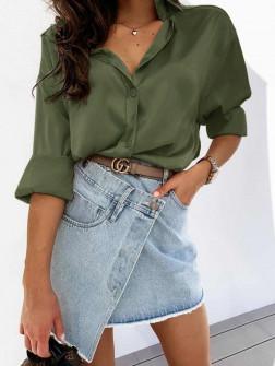 Γυναικείο σατέν πουκάμισο 5240 σκούρο πράσινο