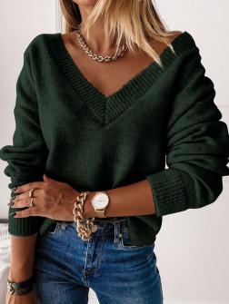 Γυναικεία μπλούζα με βαθύ ντεκολτέ 00690 σκούρο πράσινο