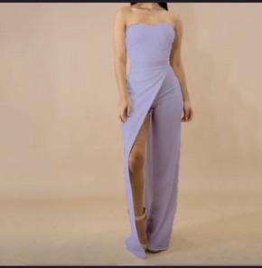 Ολόσωμη φόρμα-φόρεμα με σκίσιμο 2385 μωβ