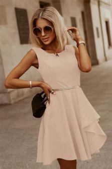 Γυναικείο φόρεμα με ζώνη 5859 μπεζ