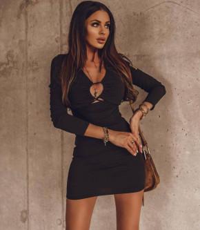Γυναικείο εντυπωσιακό εφαρμοστό φόρεμα 4523 μαύρο