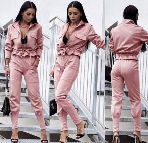 Γυναικείο σετ βελουτέ ζακέτα-παντελόνι 5962 ροζ